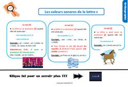 Leçon, trace écrite sur les valeurs sonores de la lettre c au Cm1