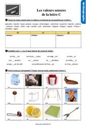 Exercices, révisions avec les corrections sur les valeurs sonores de la lettre c – Cm1