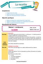 La recette – Ce1 – Ce2 – Production d'écrit – Rédaction – Fiche de préparation