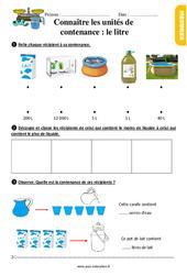 Les contenances : connaître le litre - Ce1 - Exercices à imprimer