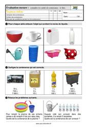 Les contenances : connaître le litre – Ce1 – Evaluation avec la correction