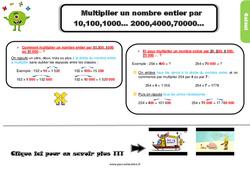 Leçon, trace écrite au Cm2 sur multiplier un nombre entier par 10,100,1000… 2000,4000,70000…