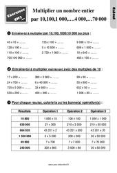 Exercices, révisions sur multiplier un nombre entier par 10,100,1000… 2000,4000,70000… au Cm2 avec les corrections