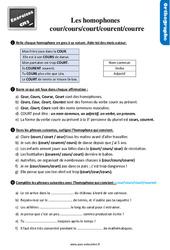 Exercices, révisions avec les corrections sur les homophones : cour/cours/court/courent au Cm2