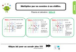 Leçon, trace écrite sur multiplier par un nombre à un chiffre au Cm1