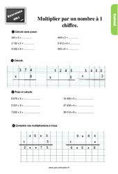 Exercices, révisions  au Cm1 avec les corrections sur multiplier par un nombre à 1 chiffre