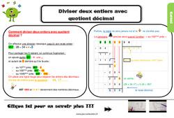 Leçon, trace écrite sur diviser deux entiers avec quotient décimal au Cm2