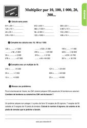Exercices, révisions avec les corrections sur multiplier par 10, 100, 1 000, 20, 300 ... au Cm1