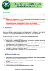 Quels sont les objectifs de la Loi de refondation de 2013? - CRPE2022
