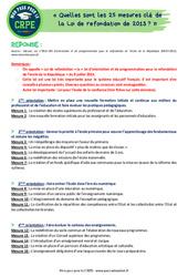 Quelles sont les 25 mesures clé de la Loi de refondation de 2013? - CRPE2022