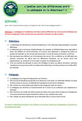 Quelles sont les différences entre la pédagogie et la didactique? - CRPE2022