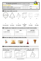 Identifier et nommer quelques solides – Ce1 – Evaluation avec les corrigés