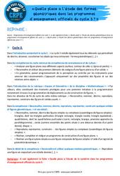 Quelle place a l'étude des formes géométriques dans les programmes d'enseignement officiels du cycle 3? - CRPE2022