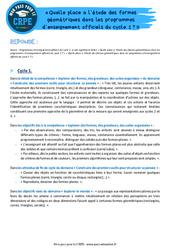 Quelle place a l'étude des formes géométriques dans les programmes d'enseignement officiels du cycle 1? - CRPE2022