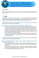 Quelle place a l'étude des formes géométriques dans les programmes d'enseignement officiels du cycle 2? - CRPE2022