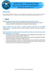 Quelle place a l'étude des solides dans les programmes d'enseignement officiels du cycle 3? - CRPE2022