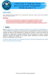 Quelle place a l'étude des volumes dans les programmes d'enseignement officiels de cycle 2? - CRPE2022