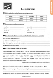 Exercices, révisions sur les synonymes au Cm2 avec les corrections