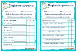 Graphies (k-qu-c-cc-ch) - Ce1 - Ce2 - Rituels - Phonologie