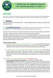 Quelles sont les modalités d'exercice de l'autorité parentale à l'école? - CRPE2022