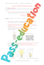 Puissance et énergie électrique - 3ème - Séquence complète