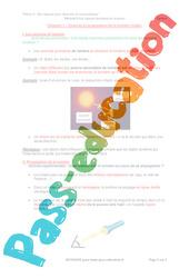 Sources et propagation de la lumière visible - 5ème - Séquence complète