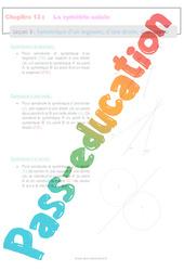 Symétrique d'un segment, d'une droite, d'un cercle - 6ème - Séquence complète sur La symétrie axiale