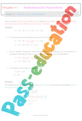 Calculs avec parenthèses - 5ème - Séquence complète - Enchaînements d'opérations