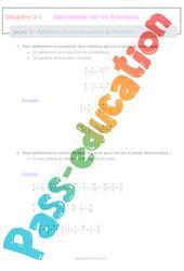 Additions et soustractions de fractions – 5ème – Séquence complète