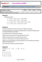 Additionner et soustraire les nombres relatifs - 4ème - Evaluation, bilan, contrôle avec la correction