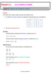 Diviser les nombres relatifs - 4ème - Cours