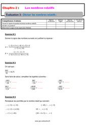Diviser les nombres relatifs - 4ème - Evaluation, bilan, contrôle avec la correction