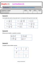 Additions et soustractions de fractions - 4ème - Evaluation, bilan, contrôle avec la correction