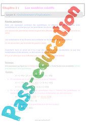 Enchaînement d'opérations - 4ème - Les nombres relatifs - Séquence complète