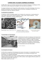 Progrès scientifiques et techniques - Le XXème siècle - Exercices - Cm2