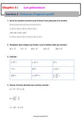Puissances d'exposant positif - 4ème - Révisions - Exercices avec correction