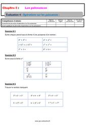 Opérations sur les puissances - 4ème - Evaluation, bilan, contrôle avec la correction