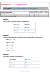 Écriture scientifique d'un nombre - 4ème - Evaluation, bilan, contrôle avec la correction