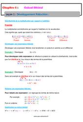 Développement Réduction - 4ème - Calcul littéral - Cours
