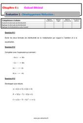 Développement Réduction - 4ème - Calcul littéral - Evaluation, bilan, contrôle avec la correction