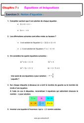 Notion d'équation - 4ème - Révisions - Exercices avec correction