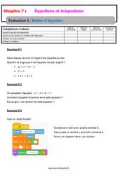 Notion d'équation - 4ème - Evaluation, bilan, contrôle avec la correction