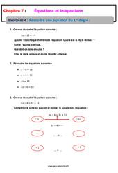 Résoudre une équation du 1er degré - 4ème - Révisions - Exercices avec correction