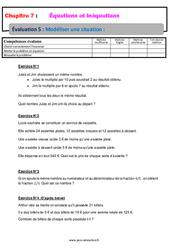 Modéliser une situation - 4ème - Evaluation, bilan, contrôle avec la correction