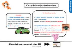 Leçon, trace écrite sur l'accord des adjectifs de couleur au Cm2