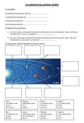 Planètes du système solaire – Exercices – Cm1  – Sciences – Cycle 3