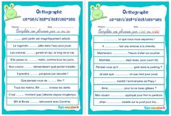 Homophones grammaticaux (ce-se/c'est-s'est/ces-ses) - Cm1 - Cm2 - Rituels - Orthographe