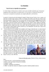 La fontaine -Désespoir et folie d'Yvain – 5ème – Récit – Lecture