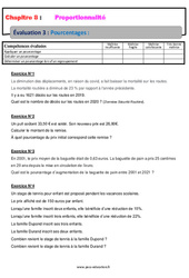 Pourcentages - 4ème - Evaluation, bilan, contrôle avec la correction