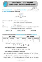 Lire, écrire et décomposer les nombres décimaux - Leçon - Cm1 - Cm2
